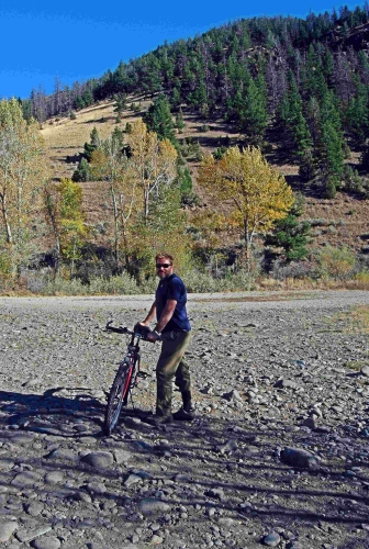 """My first time mountain biking in the mountains,"" commented Tadd, although we didn't get very far before the trail went up and turned into another backcountry horse trail."