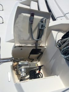 Anchor windlass with it's new remote control and wash down pump switch