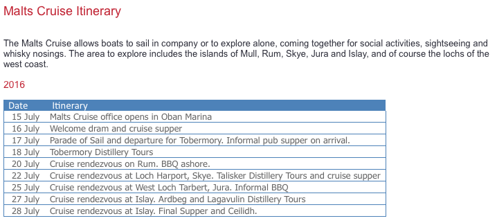 ARC Malt Cruise Itinerary