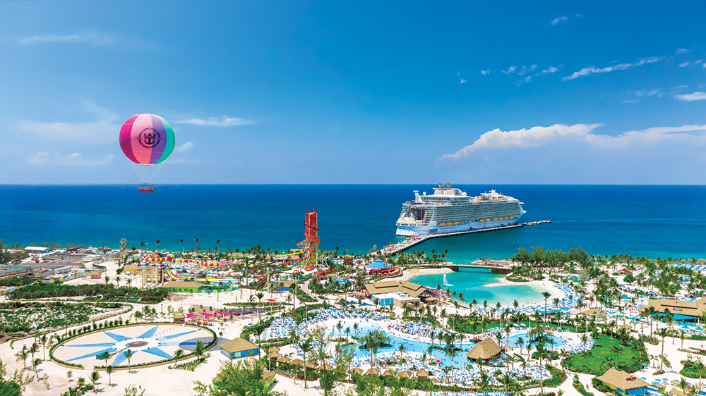 Panoramic view of Oasis class ship docked at Cococay, Bahamas