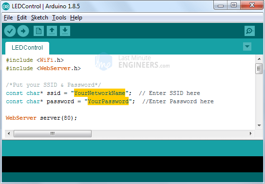 Change SSID & Password before trying STA mode web server sketch
