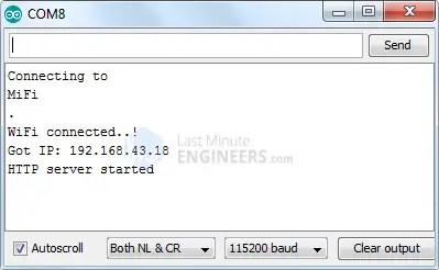 ESP32 Web Server Station Mode Serial Monitor Output - Server Started