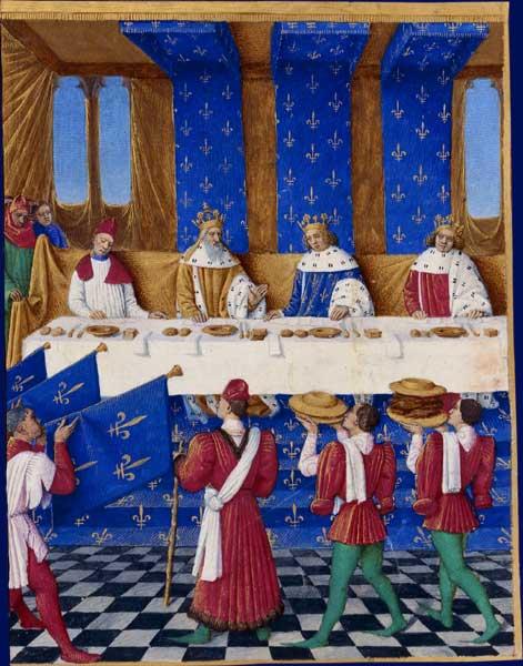 Un banchetto dato a Parigi nel 1378 daCarlo V di Francia (al centro in blu) in onore dell'imperatore Carlo IV e di suo figlioVenceslao IV. Ogni commensale ha due coltelli, un contenitore per il sale, un tovagliolo, pane e un piatto. Dipinto di Jean Fouquet, 1455-1460.