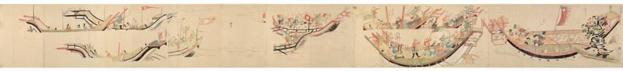 Samurai giapponesi all'arrembaggio di una nave mongola nel 1281. Moko Shurai Ekotoba, circa 1293.