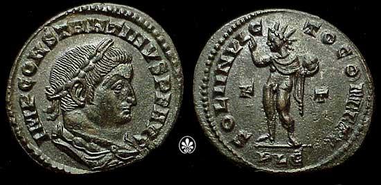 """Moneta di Costantino, con una rappresentazione del Sol Invictus e l'iscrizione SOLI INVICTO COMITI, """"al compagno (di Costantino), il Sole Invitto""""."""