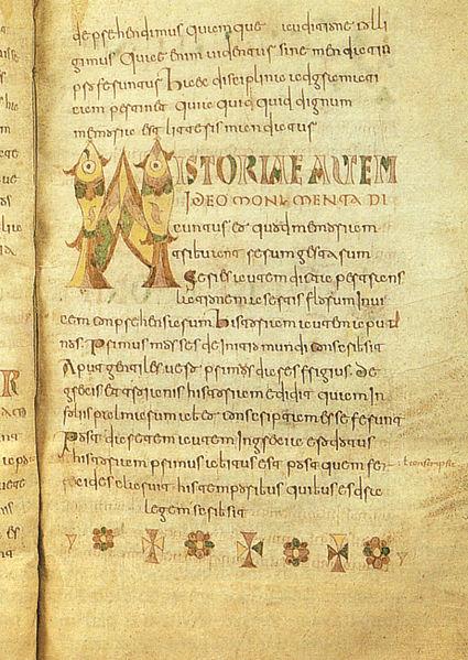 Una pagina di Etymologiae di Isidoro di Castiglia, manoscritto Carolingio (VIII secolo), Bruxelles, Royal Library of Belgium