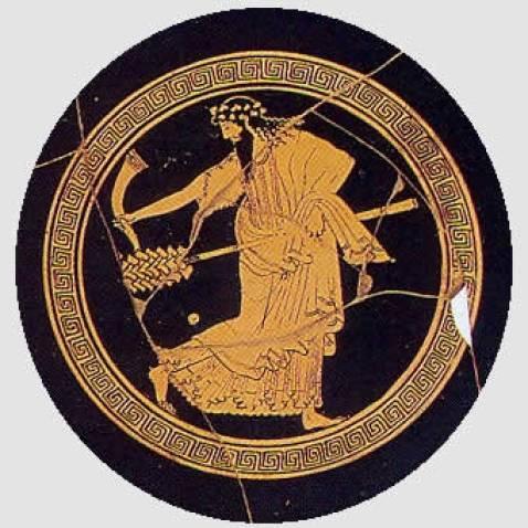Dioniso con corno potorio e tirso. Interno di Kylix attica a figure rosse da Cerveteri Museo Nazionale Etrusco di Villa Giulia, Roma