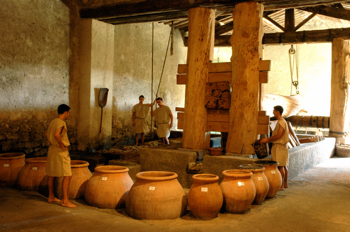 Cella vinaria, cantina romana ricostruita presso Mas des Tourelles, Francia