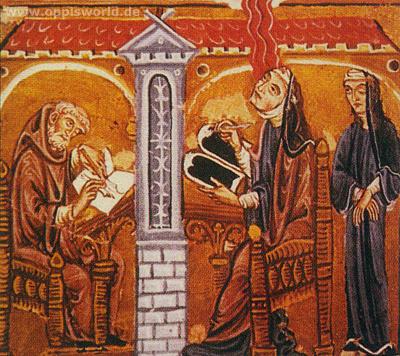 Miniatura dal cosiddetto Codice di Lucca del divinorum operum Liber : Hildegard alla sua scrivania, 1220/1230, Biblioteca Statale di Lucca
