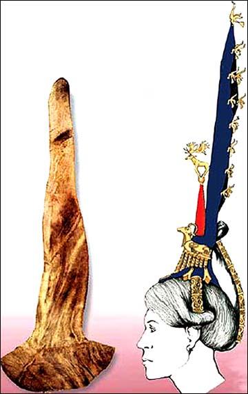 """Disegno della parrucca, con una foto della """"protezione"""" della parrucca. Istituto di Archeologia ed Etnografia, Filiale siberiana dell'Accademia Russa delle Scienze"""