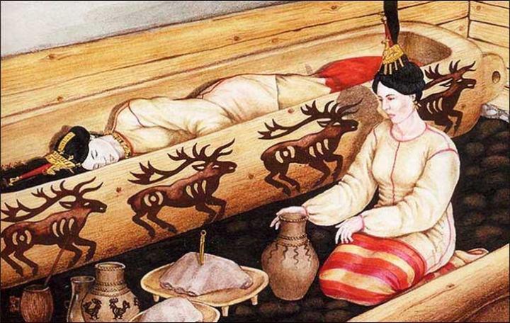 Ricostruzione della sepoltura della Principessa. disegno di Elena Shumakova, Institute of Archeology and Ethnography, Siberian Branch of Russian Academy of Science