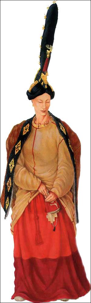 Ricostruzione degli abiti della principessa Ukok: tutti gli indumenti sono stati ritrovati nella sepoltura. (Ricostruzione: D. Pozdnyakov, Istituto di Archeologia ed Etnografia dell'Accademia Russa delle Scienze)