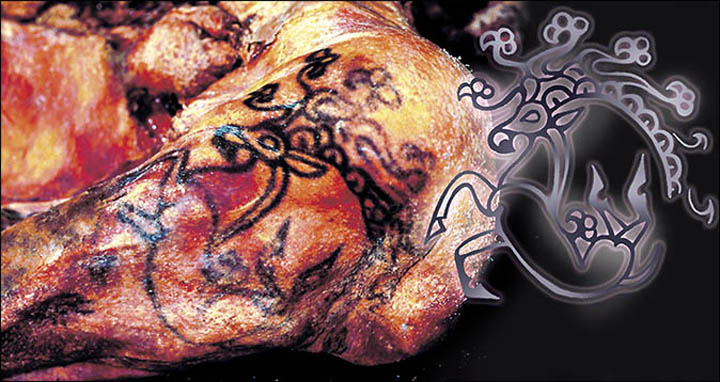 La foto dello splendido tatuaggio sulla spalla sinistra della mummia.