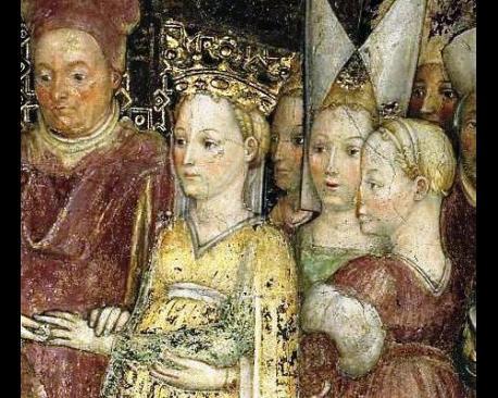 Particolare dagli affreschi nella Cappella di Teodolinda. Bottega degli Zavattari pittura murale 1441-46 circa Monza, Duomo