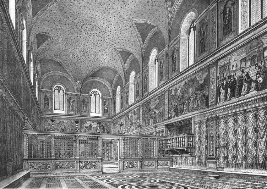 Ricostruzione dell'aspetto della Sistina prima degli interventi di Michelangelo, stampa del XIX secolo