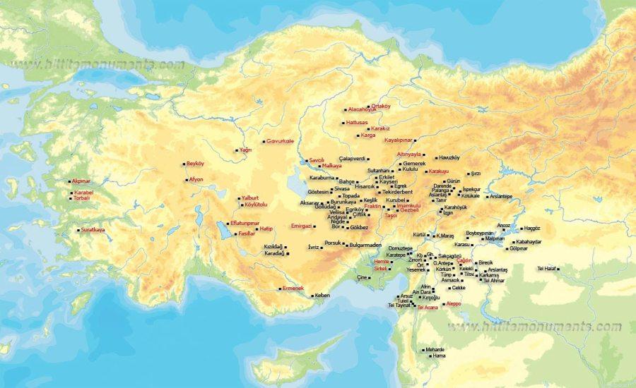Mappa dei principali siti Ittiti (hittitemonuments.com)