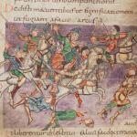 Elmo: nell'immagine fanti e cavalieri indossano il tipo di elmo più raffigurato nel Salterio di Stoccarda. Questo tipo non è però l'unico.