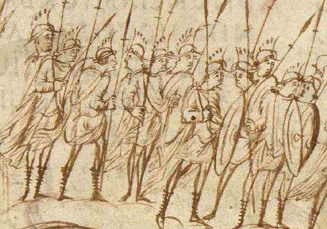 Elmo: dettaglio del Salterio di Utrecht con elmi simili a quelli del Salterio Aureo con aggiunte di creste.
