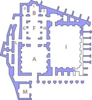 Pianta di Santa Maria Antiqua e delle strutture archeologiche adiacenti: A) Atrio; B) Presbiterio; C) Abside; D) Cappella di Teodoto; E) Cappella dei Santi Medici; F) Navata centrale; G) Navata sinistra; H) Navata destra; I) Tempio di Augusto; L) Rampa al Palatino; M) Oratorio dei XL Martiri (Foto: http://archeoroma.beniculturali.it/)