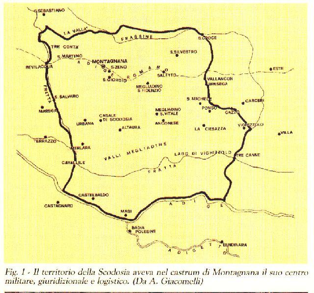 I comuni facenti parti della sculdascia. Si noti tratteggiato il percorso dell'Adige precedente alla Rotta della Cucca del 589.