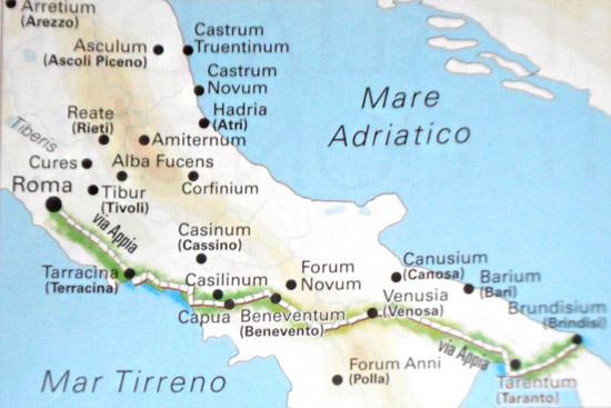 L'intero percorso della Via Appia