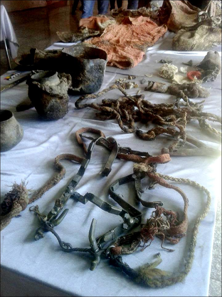 In primo piano il morso da cavallo e le briglie, sulla sinistra i contenitori di diversi materiali rinvenuto nella sepoltura (Foto: Khovd Museum)In primo piano il morso da cavallo e le briglie, sulla sinistra i contenitori di diversi materiali rinvenuto nella sepoltura (Foto: Khovd Museum)