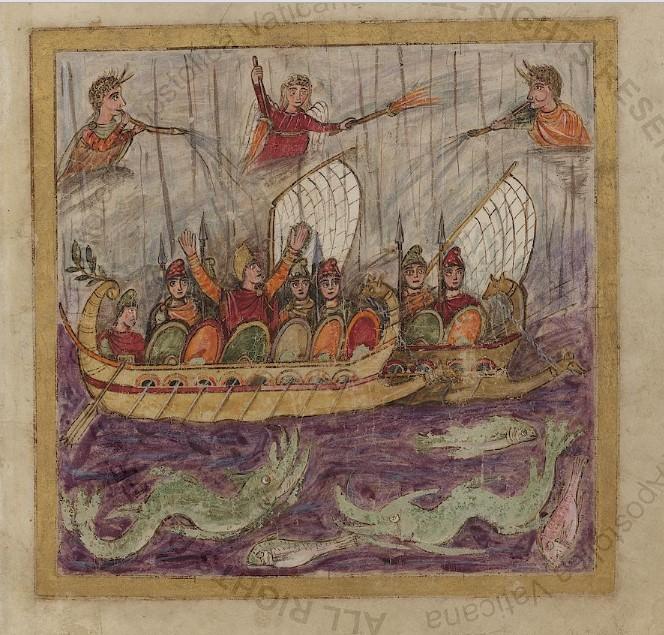 Enea in atteggiamento orante, Virgilio romano, folio77v