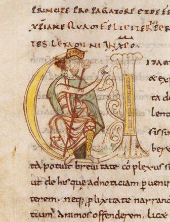 Eginardo, Vita Caroli. Lettera capitale miniata con Carlo Magno assiso. Abbazia di Saint-Martial di Limoges, 1050 (?) BNF, manoscritti, Latina 5927 fol. 280V