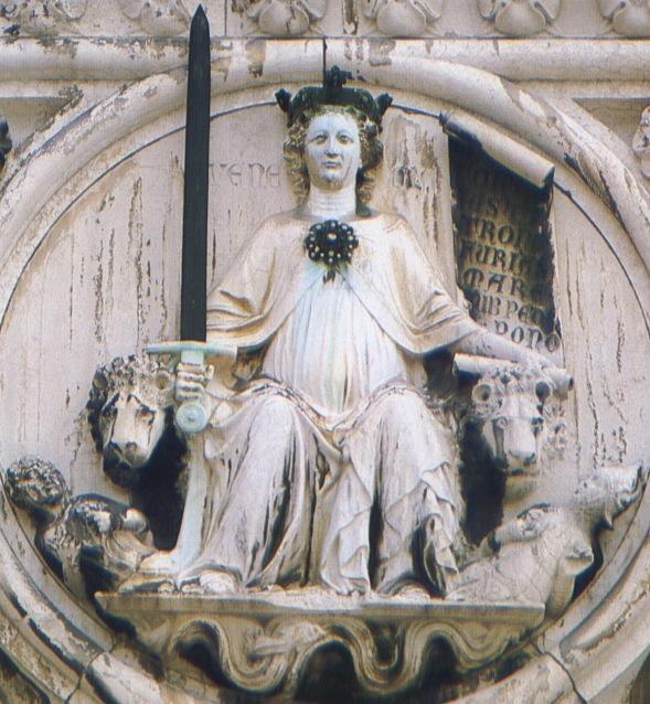 Scultura di Donna rappresentante Venezia dominatrice sul mare e le genti e segna il punto in cui il palazzo ducale terminava prima dell'ampliamento realizzato tra la fine del '200 e i primi del '300