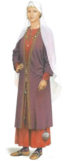 Abito di Wisigarda ricostruito per la mostra del 2013 Königinnen der Merowinger - Le regine dei Merovingi, tenutasi presso l'Archaeologisches museum di Frankfurt. Wisigarda era longobarda e morì nel 542 circa fu regina dei Franchi Sali d'Austrasia quale moglie del merovingio Teodeberto I
