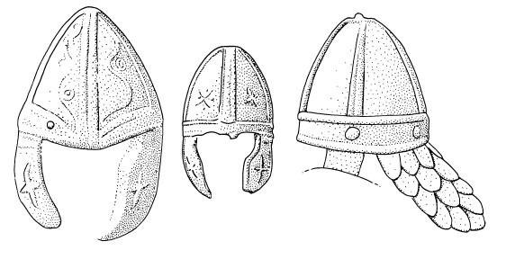 Disegno degli elmi raffigurati nei trofei sul basamento della colonna triana (Immagine da Simon James)