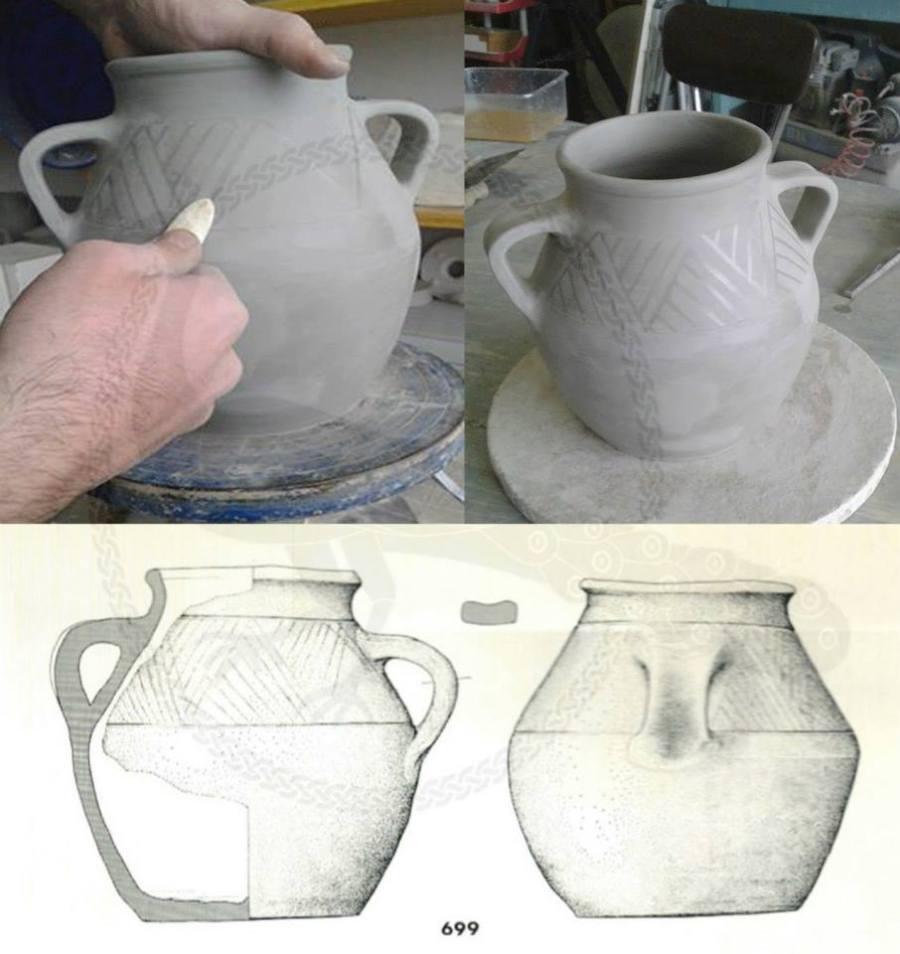 Rievocatore del gruppo Presenze Longobarde decora con la tecnica a stralucido la replica di un'olla ceramica