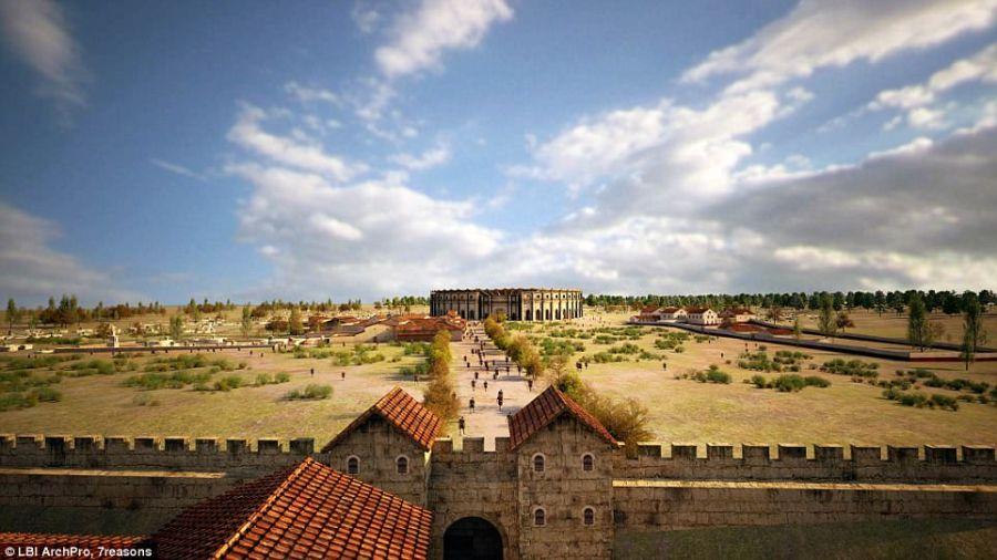 La ricostruzione del percorso dalle mura all'anfiteatro di Carnutum