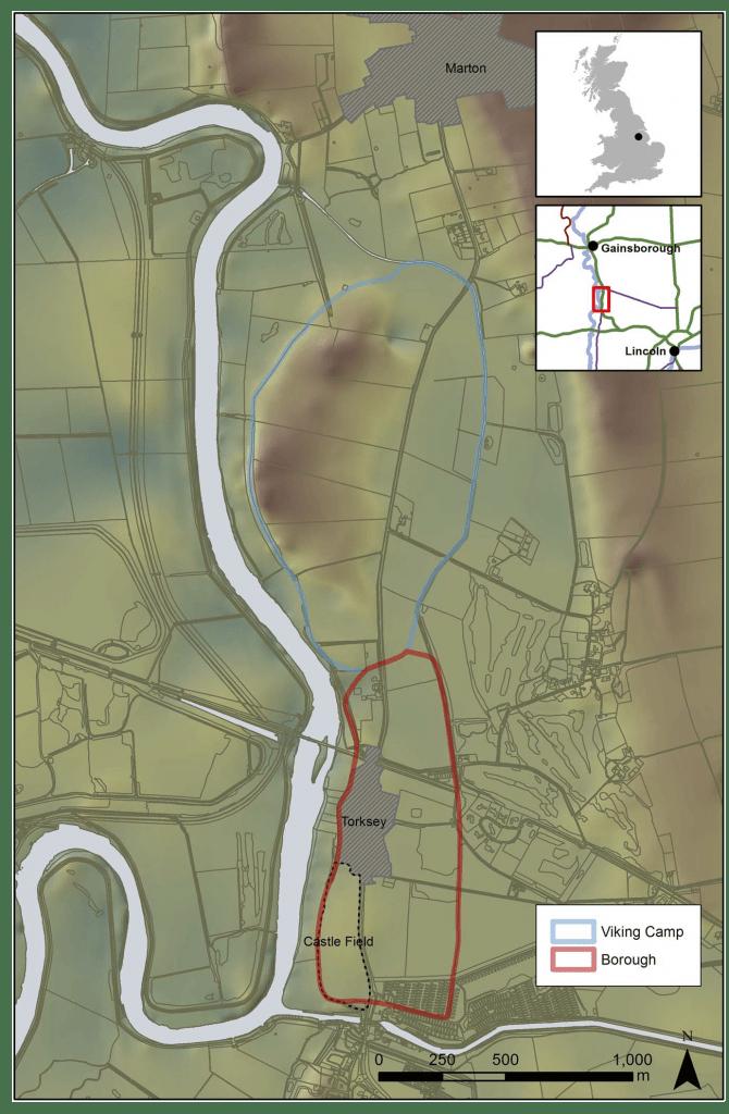 Planimetria che mostra l'area di studio e i contorni approssimativi del campo invernale vichingo e il quartiere anglo-scandinavo.