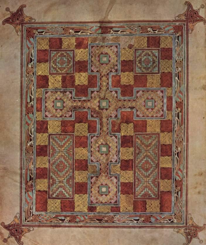 Una pagina del famoso Evangeliario di Lindisfarne prodotto nel monastero nel secondo decennio dell'VIII secolo, attualmente alla British Library