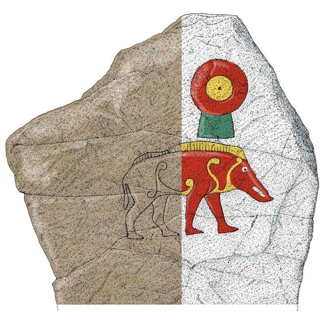 La Knocknagael Boar Stone di Inverness nell'ipotesi ricolorata. (Immagine: Historic Environment Record)