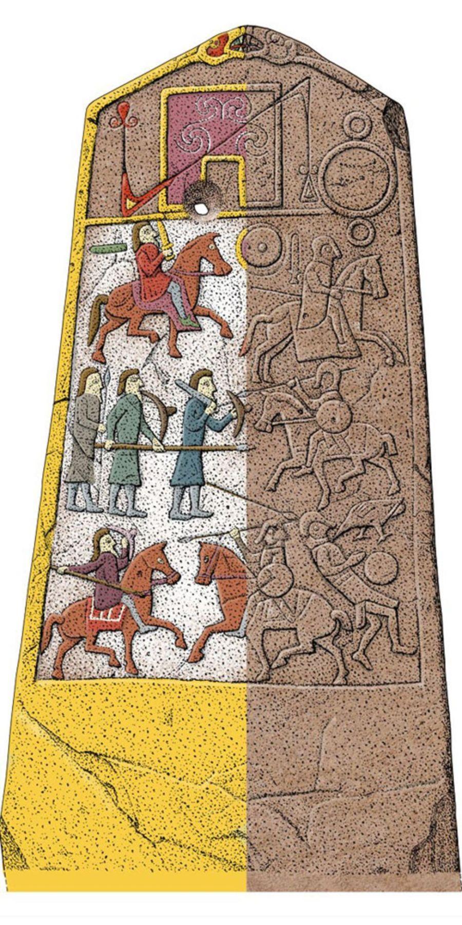 La ricostruzione a colori della Pietra di Aberlemno, con la raffigurazione della battaglia di Dun Nechtain avvenuta nel 685 AD. (Foto: Historic Environment Scotland)