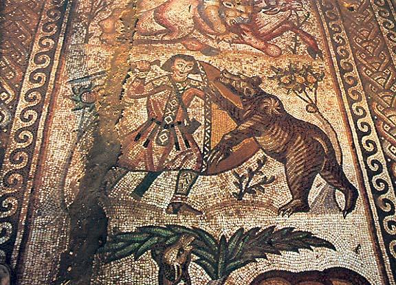Dettaglio da scene di caccia dal mosaico pavimentale della Chiesa di Sant'Elia a Kissufim, Israele (VI secolo)