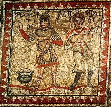 Raffigurazione dei mesi di Marzo e Aprile da mosaico pavimentale di Argo, Grecia, ca 500.