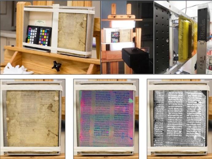 I ricercatori hanno utilizzato una varietà di tecniche che li aiutassero a leggere il testo del VI secolo. (Foto: Emeline Pouyet)