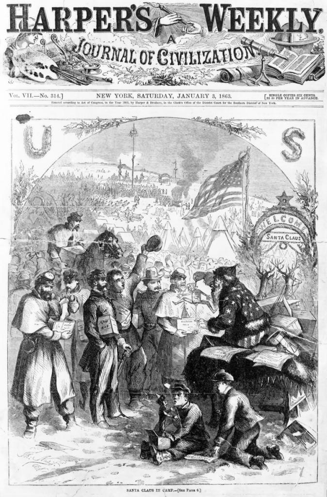 La prima apparizione del Santa Claus di Nast sulla copertina di Harper's Weekly del 3 gennaio 1863