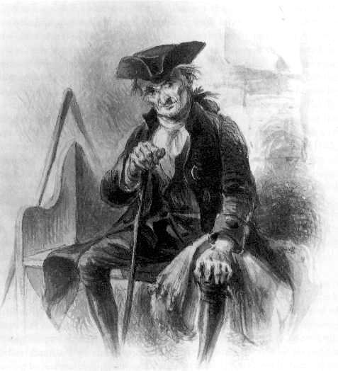 L'immaginario personaggio Diedrich Knickerbocker dal frontespizio di un'edizione di A History of New-York, da un carboncino di Felix O. C. Darley