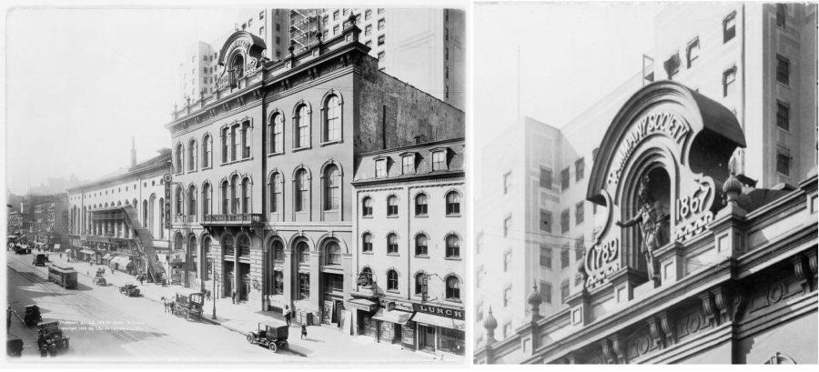 """Tammany Hall a New York, nella East 14th Street con il dettaglio della statua di """"St. Tammany"""""""
