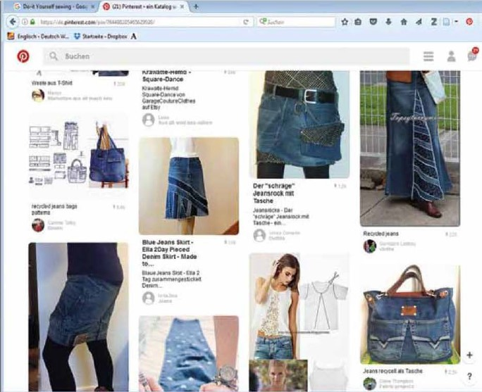 Un esempio dei progetti di riciclo di vecchi blue jeans divulgati tramite Pinterest (Immagine: Karina Gromer)