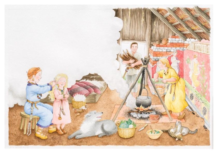 """La ricostruzione di una scena domestica da """"Una giornata con Berta"""". I dettagli di abiti e accessori dei singoli personaggi sono adeguati alla classe sociale e al genere. L'interno dell'abitazione suggerisce il riuso di un edificio romano di cui si vedono bene le tracce rimaste."""