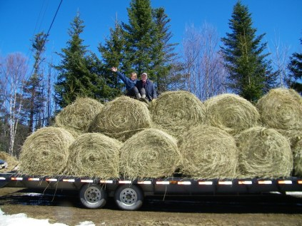 Hay being delivered