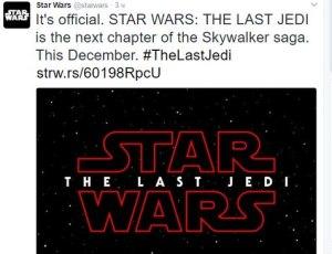Звездные войны твиттер, дата выхода Звездных Войн, дата выхода восьмого эпизода звездных войн, звездные войны смотреть онлайн, звездные войны скачать