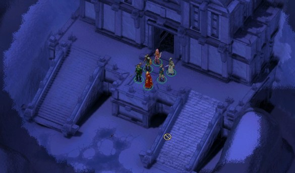 Outside the Aurilite temple in Icewind Dale II