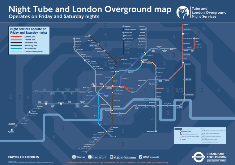 night tube map