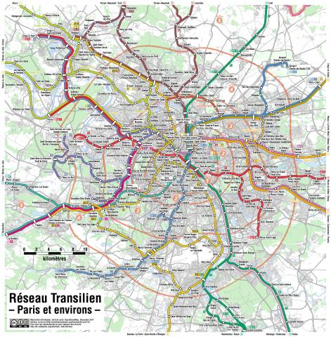 rer transilien paris region map - Why doesn't London build an RER network, like Paris did?